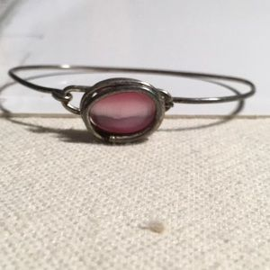 "Jewelry - Sterling silver pink stone handmade bracelet 6.25"""